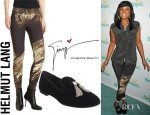 Jennifer Hudson's Helmut Lang Drift Print Leggings And Giuseppe Velvet Loafers
