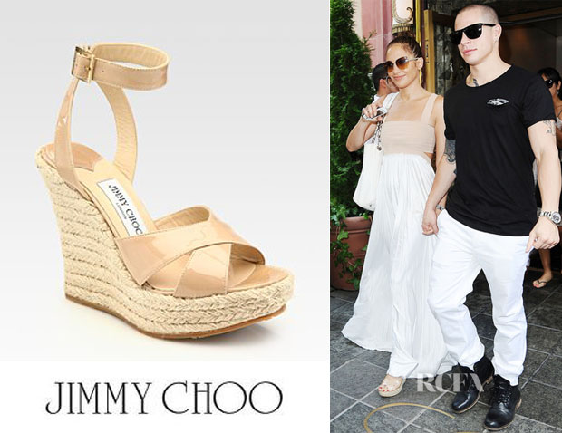 Jennifer Lopez' Jimmy Choo Patent Leather Wedge Espadrilles