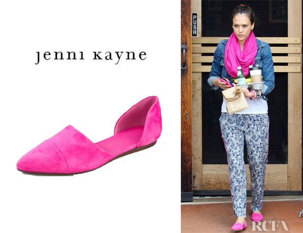 Who: Jessica Alba wearing Jenni Kayne suede d'Orsay flats