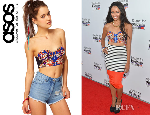 Kat Graham's ASOS Abstract Feather Print Corset