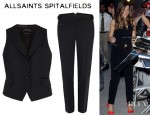 Kate Beckinsale's All Saints Brompton Waistcoat And All Saints Brompton Pants