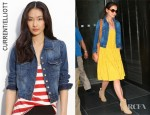Katie Holmes' Current/Elliott The Snap Stretch Denim Jacket And Rag & Bone Classic Newbury Canvas Ankle Boots