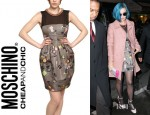 Katy Perry's Moschino Cheap & Chic Pearl Necklace Printed Duchesse Dress