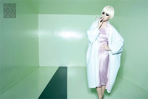 Katy Perry in Jil Sander dress and coat