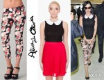 Katy Perry's Alice + Olivia Sinclair Lace Blouse, Alice + Olivia Capri Pants And Repetto BB Leather Ballet Flats