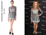 Kaylee Defer's Opening Ceremony Flocked Mesh Pleated Dress