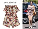 Kelly Brook's Zimmermann Savannah Floral Print Strapless Silk Playsuit