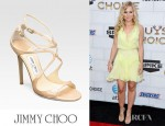 Kristen Bell's Jimmy Choo Lance Strappy Patent Leather Sandals