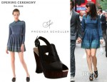 Kristen Wiig's Opening Ceremony Aztec Print Pleated Dress And Proenza Schouler Slingback Platform Wedges