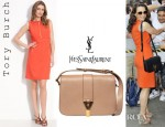 Kristin Davis' Tory Burch Mariel Sleeveless Dress And YSL Chyc Mini Tweed And Leather Bag
