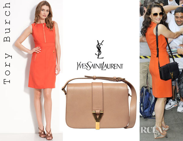 Kristin Davis\u0026#39; Tory Burch Mariel Sleeveless Dress And YSL Chyc ...