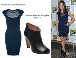 Kristin Kreuk's French Connection Lori Lace Cap Sleeve Dress And Maison Martin Margiela Peep Toe Booties
