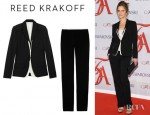 Kyra Sedgwick's Reed Krakoff Silk Vest Underlay Wool Blazer And Reed Krakoff Silk Trimmed Wool Straight Leg Pants