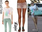 LeAnn Rimes' Wildfox Horse and Rainbow Jagged Edge Tee And Siwy Camilla Cut Off Shorts