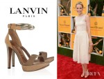 Leslie Bibb's Lanvin Leather Suede And Wood Platform Sandals