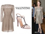 Leslie Mann's Valentino Opal All Over Sequin Dress And Valentino Glitter Sandals