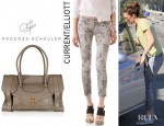 Mandy Moore's Current/Elliott Stiletto Jeans And Proenza Schouler PS1 Keep All Leather Tote
