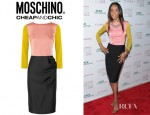 Michelle Williams' Moschino Cheap and Chic Colour Block Stretch Satin Dress