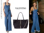Miley Cyrus' Anthropologie Sharlene Halter Jumpsuit And Valentino Studded Leather Tote