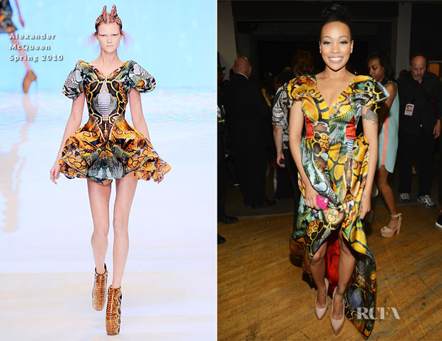 Monica Brown In Alexander McQueen - 2012 BET Awards