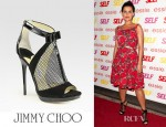 Nelly Furtado's Jimmy Choo Callie Mixed Media T-Strap Sandals