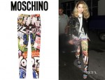 Nicola Roberts' Moschino Graffiti Print Stretch Satin Skinny Pants