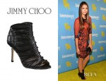 Nina Dobrev's Jimmy Choo Gio Leather And Suede Stitch Ankle Boots
