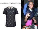 Olivia Munn's French Connection Vaity Lace Collar Top