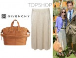 Olivia Palermo's Topshop Metallic Pleat Calf Skirt And Givenchy Nightingale Leather Bag