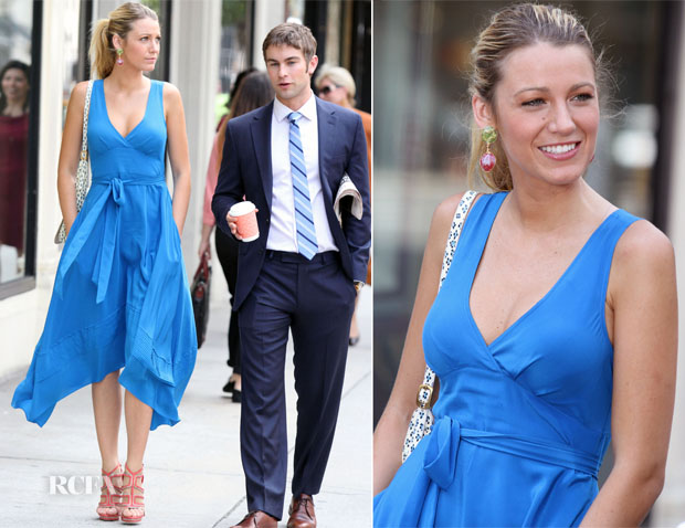 On The Set Of Gossip Girl With Blake Lively In Marc by ...