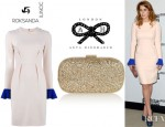 Princess Beatrice's Roksanda Ilincic Izumi Two Tone Wool Crepe Dress And Anya Hindmarch Marano Glitter Finished Box Clutch