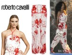 Rihanna's Roberto Cavalli Scarf Halter Top And Roberto Cavalli Graphic Printed Silk Trousers