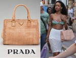 Rihanna's Prada Madras Woven Leather Tote