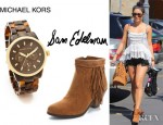 Vanessa Hudgens' Sam Edelman Louie Fringe Booties And Michael Kors Tortoise Sport Watch