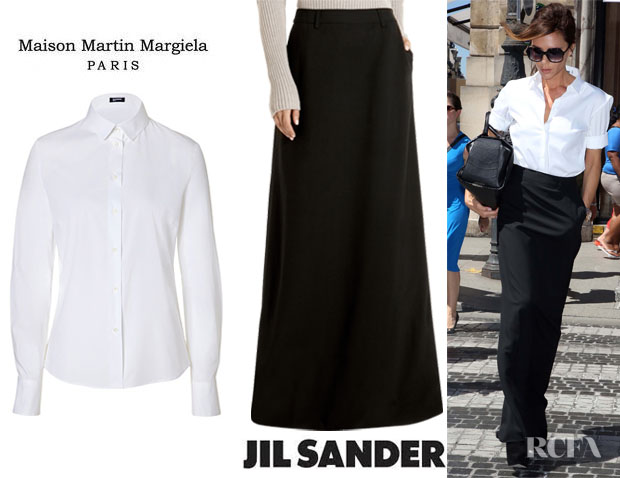Victoria Beckham's Jil Sander Catharina Shirt And Maison Martin Margiela Long Tuxedo Skirt