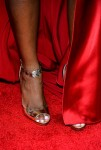 Tika Sumpter's  B Brian Atwood 'Cassise' Metallic Leather Chain-Strap Sandal