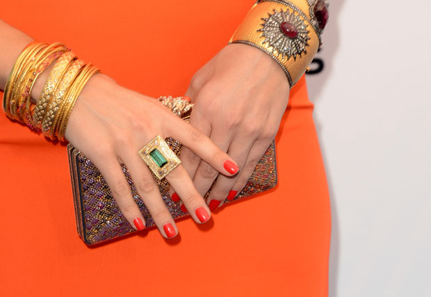 Sophia Bush's Judith Leiber clutch and jewels