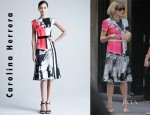 Anna Wintour's Carolina Herrera Cap Sleeve Printed Silk Dress