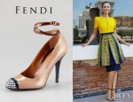 Bianca Balti's Fendi Persuasion Leather Ankle Wrap Pumps