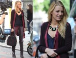 On The Set Of Gossip Girl With Blake Lively In Rag & Bone