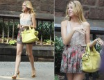 On The Set Of Gossip Girl With Blake Lively In Haute Hippie