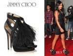 Bobbi Kristina Brown's Jimmy Choo Teazer Feather Trimmed Satin Sandals