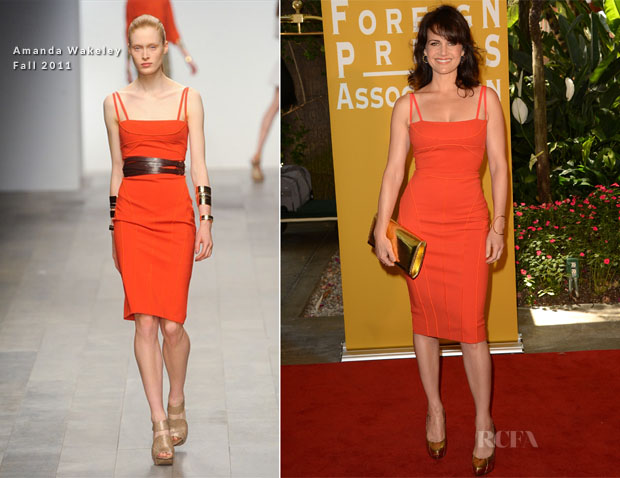 Carla Gugino In Amanda Wakeley - Hollywood Foreign Press Association's 2012 Installation Luncheon