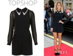 Caroline Flack's Topshop Sheer Sleeve Playsuit