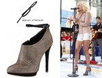 Carrie Underwood's B Brian Atwood Fruitera Booties And 7 For All Mankind Brocade Foil Cutoffs
