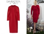 Charlize Theron's Giambattista Valli Pleated Wool And Silk Blend Dress