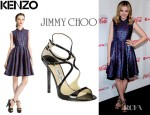 Chloe Moretz' Kenzo Medallion Print Jacquard Shirtdress And Jimmy Choo Lance Strappy Sandals
