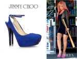 Christina Aguilera's Jimmy Choo Tame Crystal Embellished Suede Pumps