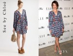 Crystal Reed's See by Chloé Butterfly Sleeve Silk Dress