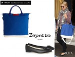 Dianna Agron's WANT Les Essentiels Olympic Edition O'Hare Tote And Repetto BB Leather Ballet Flats